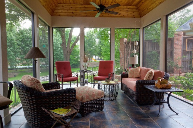 Screened enclosed patio traditional porch dallas for Enclosed porch furniture ideas