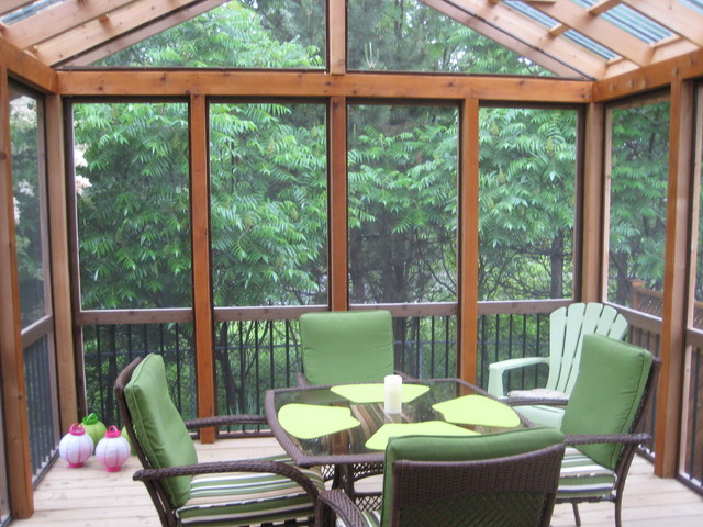 Screened in deck and fence traditional porch ottawa by