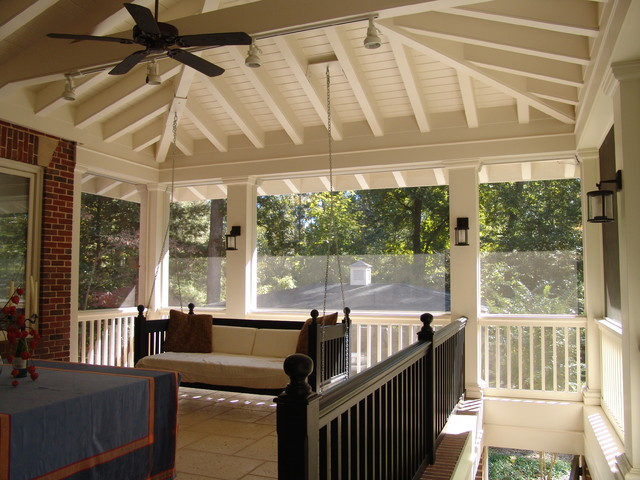 screened in porch rustic porch