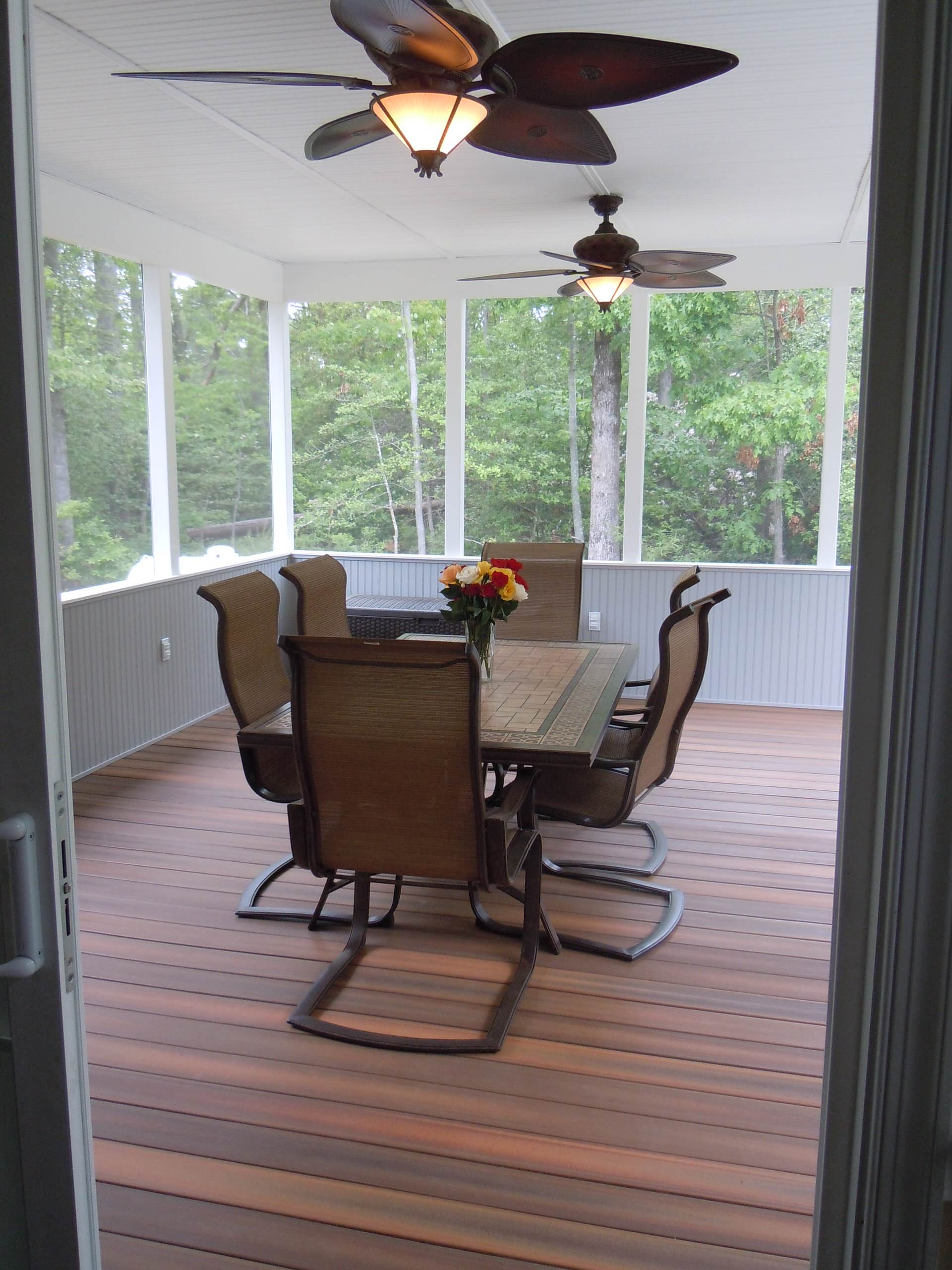 Screened-in Porch with composite decking boards