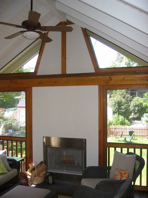 Screened porch addition with fireplace craftsman porch for Craftsman screened porch