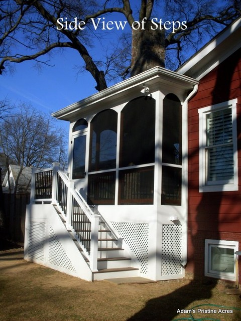 Screened Porch & Fireplace traditional-porch