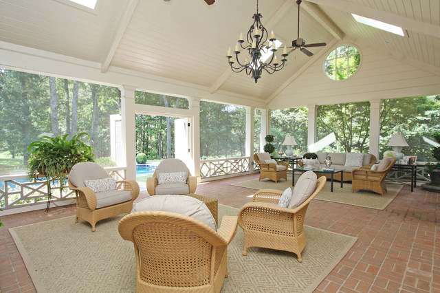 Screened Porch And Pool Traditional Porch Atlanta