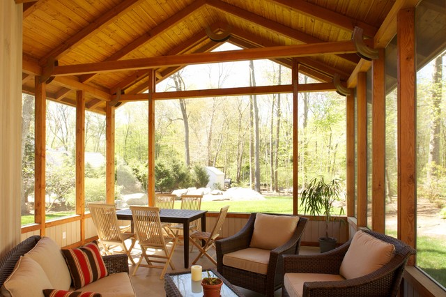 Screened porch eclectic-porch