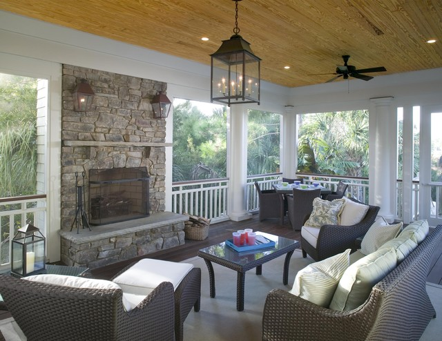 Screened porch features outdoor fireplace traditional for Back to back indoor outdoor fireplace