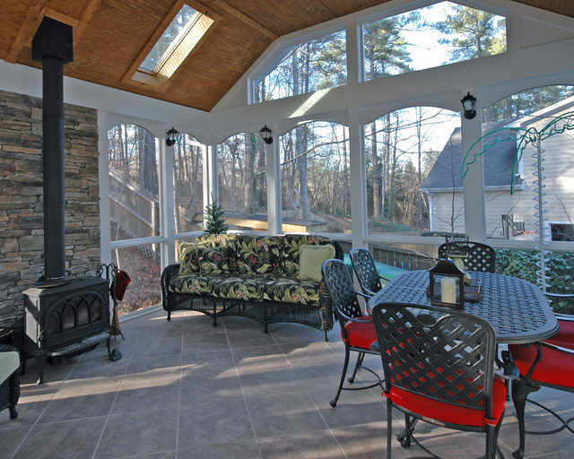 Screened porch ideas for Wood burning stove for screened porch