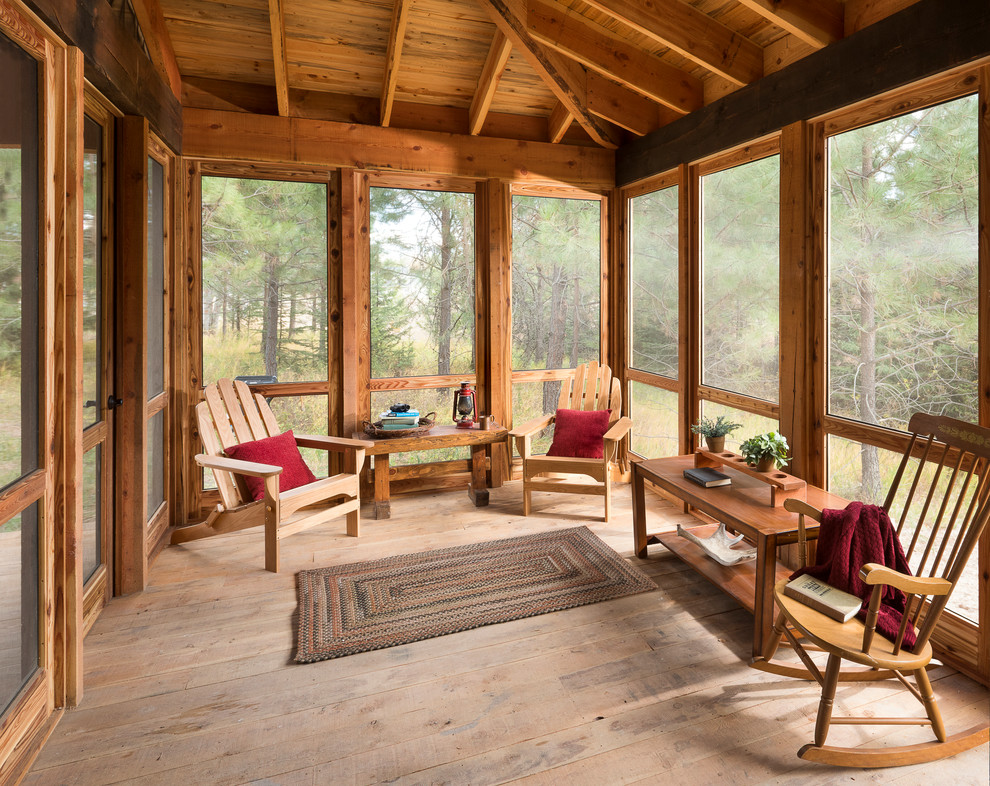 Screened Porch Rustic Porch Other By Montana Heritage Home Builders Inc Houzz