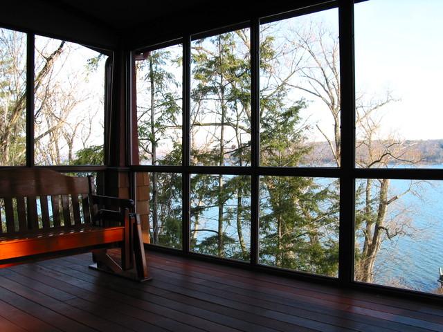 Screened porch of lake bungalow craftsman porch for Craftsman style screened porch
