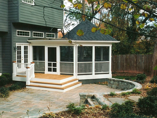 Screened Porch Stairs And Stone Patio Contemporary