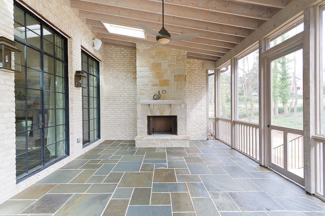 Screened Porch W Fireplace Transitional Porch
