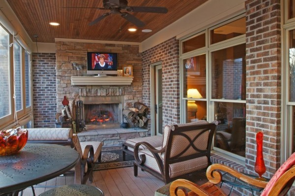 Screened porch with fireplace for Screened porch fireplace designs