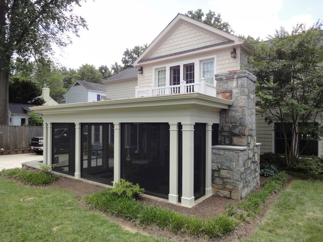 Screened porch with fireplace traditional porch dc metro by