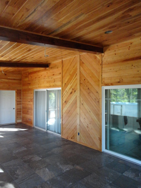 Scrreened room addition rustic porch other by for Box car siding ceiling