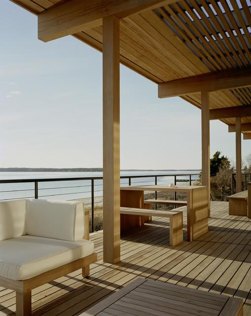 Shelter island modern porch new york by tamarkin co for Cypress porch columns