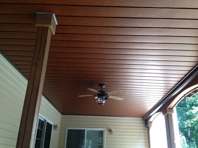 this is an example of a traditional porch design in richmond - Wood Under Porch Ceiling