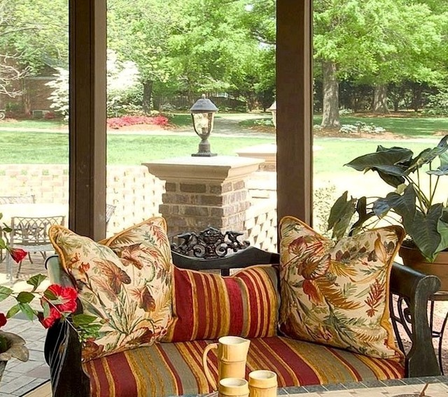 A small sampling of our window treatments, headboards, & upholstery work traditional-porch