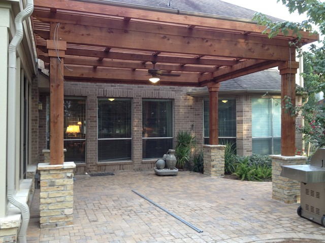 Inspiration for a timeless porch remodel in Houston - Sienna Plantation Covered Porch/covered Balcony/pergola