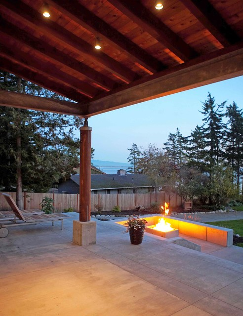 View Towards Fire Pit From Covered Terrace Modern