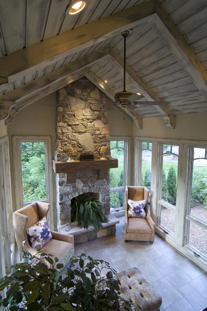 Spur road edina mn traditional porch minneapolis for Sunrooms with fireplaces