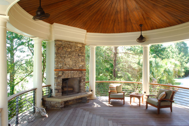 stacked stone outdoor fireplace centers circular porch tropical rh houzz com
