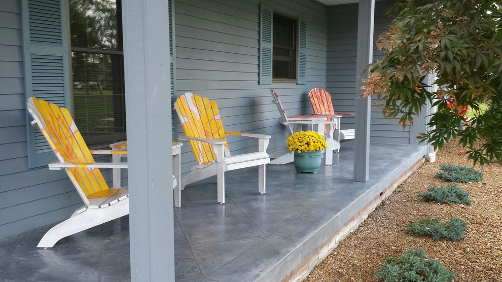 Stained Concrete Tile Front Porch