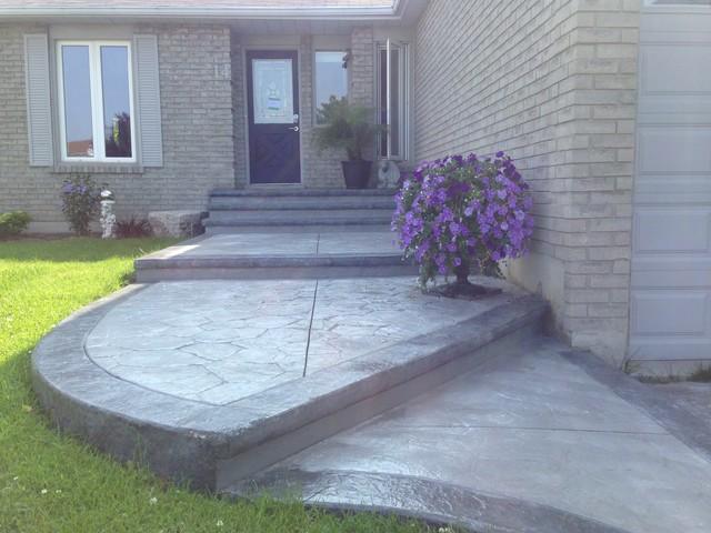 Cement Front Porch : Stamped concrete front entrance porch oshawa