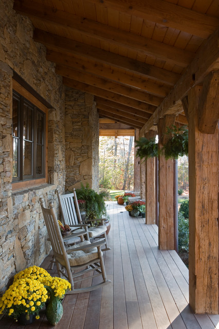 Stone And Reclaimed Timber Mountain Estate Rustic