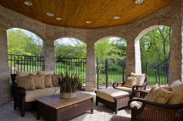 Stone Gazebo With Stained Bead Board Ceiling And Paver