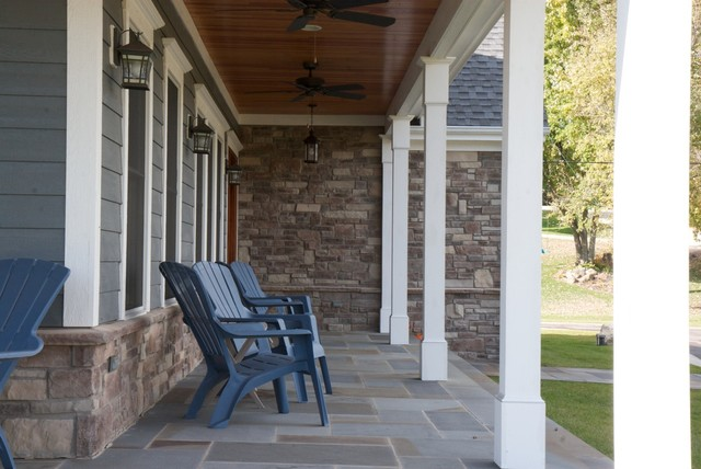 Stone Veneer And Cement Board Porch Traditional Porch