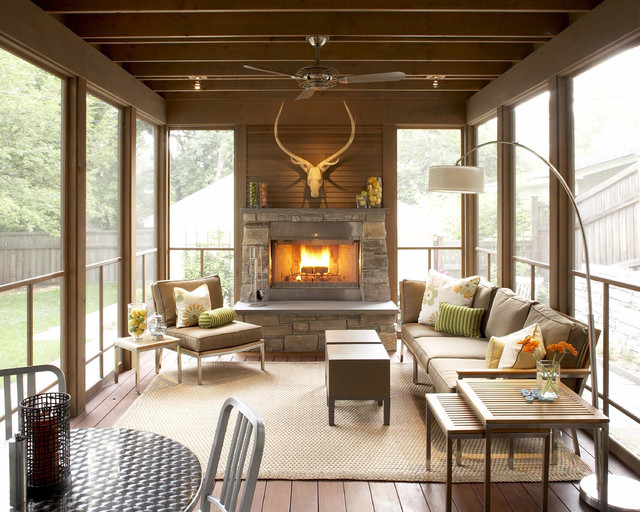 Screened In Porch Design Ideas classic screened in porch ideas Screened Porch Fireplace Home Design Photos