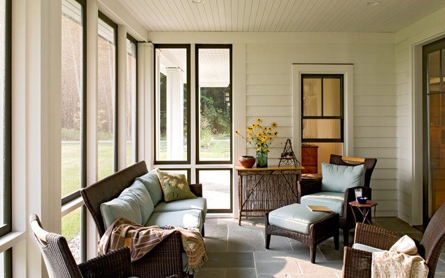 Sun room farmhouse porch portland maine by whitten for Sun porch ideas