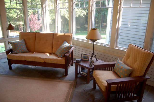 Sunroom Gets New Cushions & Pillows traditional-porch
