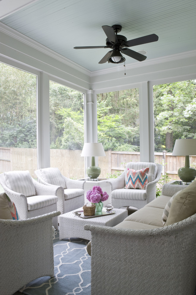 This is an example of a traditional porch design in DC Metro with a roof extension.