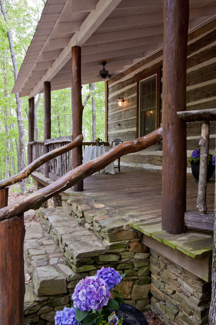 Talking rock log cabin rustic porch atlanta by for Rustic front porch