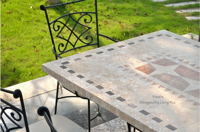"TAMPA 78"" & 94"" MOSAIC MARBLE STONE GARDEN PATIO TABLE"