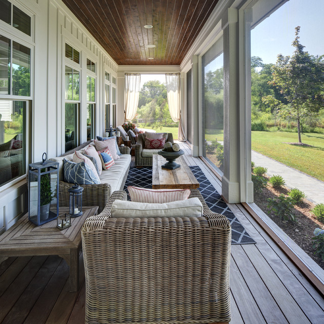 country screened in porch idea in milwaukee with decking and a roof extension - Screened In Porch Design Ideas