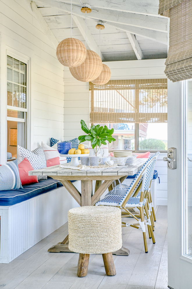 Small beach style screened-in porch photo in Providence with a roof extension