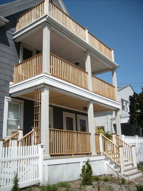 three story deck project traditional porch boston