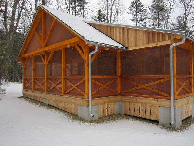 Timber frame addition on existing cabin for Timber frame porch addition