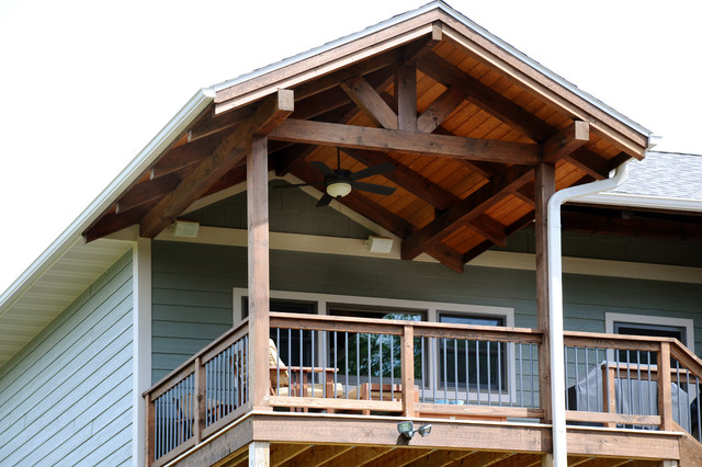 Timber frame covered porch rustic porch other metro for Timber frame screened porch