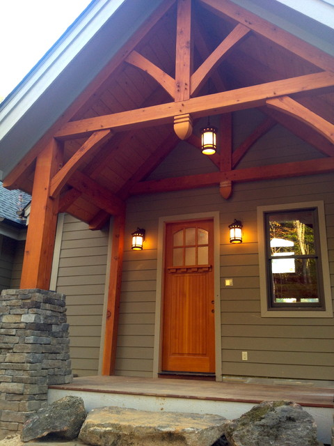 Timber frame entry traditional porch charlotte by for Timber frame screened porch