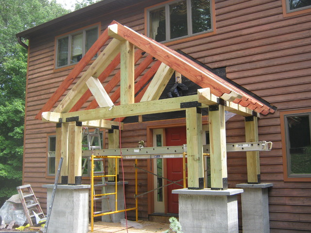 Timber frame porch eclectic porch philadelphia for How to build a timber frame house