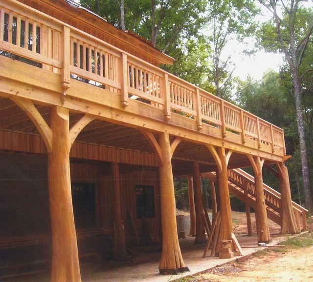 Timber frame porch with cypress posts contemporary for Cypress porch columns