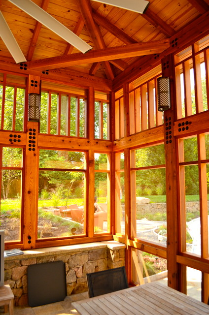 Timber framed screen porch asian porch philadelphia for Timber frame screened porch