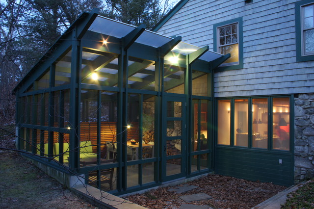 Timber Framed Screened Porch modern-porch