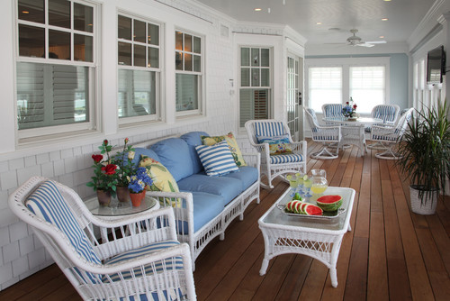 beach-style-porch 15 Beautiful Wicker Furniture Design Inspirations