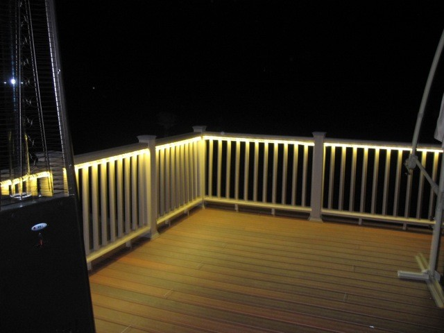 Deck and balcony design with led lighting traditional for Balcony lighting ideas