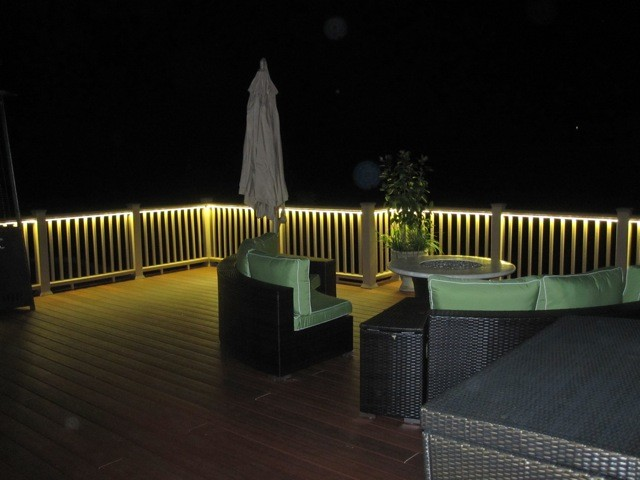 Deck and balcony design with led lighting traditional - How to use lights to decorate your patio ...