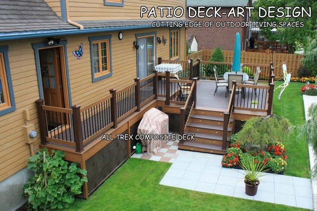 3 Color Deck Ideas : Patio deck art designs?trex traditional porch