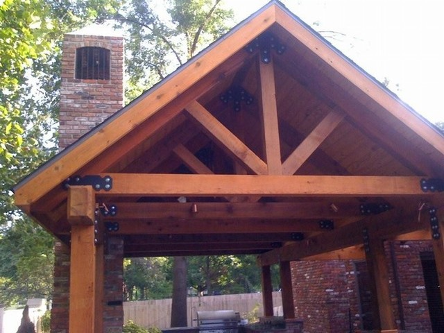 Traditional Style Open Gable Roofed Outdoor Kitchen Porch